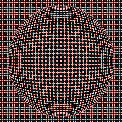 Optical Illusion Red Ball  Art Print by Sumit Mehndiratta