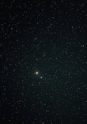 Virgo Photograph - Optical Image Of Mars Near The Bright Star Spica by John Sanford
