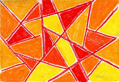 Red Line Drawing - Orange Abstract by Hakon Soreide
