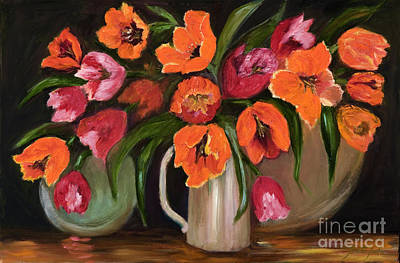 Painting - Orange And Pink Tulips by Pati Pelz