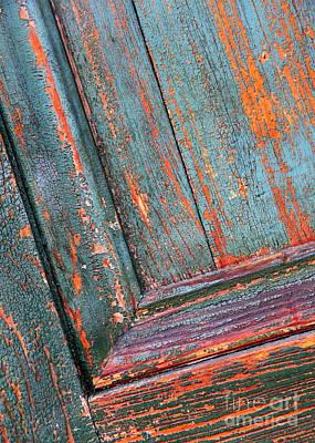 Photograph - Orange And Teal - Weathered Door by Carol Groenen