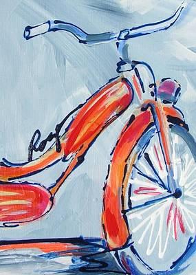 Orange Boomer Bike Art Print