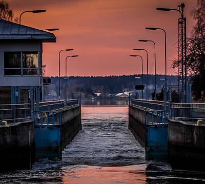Print featuring the photograph Orange Canal by Matti Ollikainen