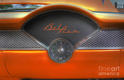 Photograph - Orange Chevy Bel Air Glove Box And Clockface by Lee Dos Santos