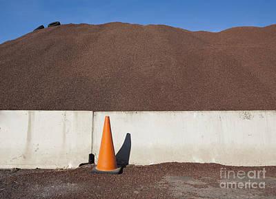Orange Cone And Gravel Pile Art Print by Paul Edmondson