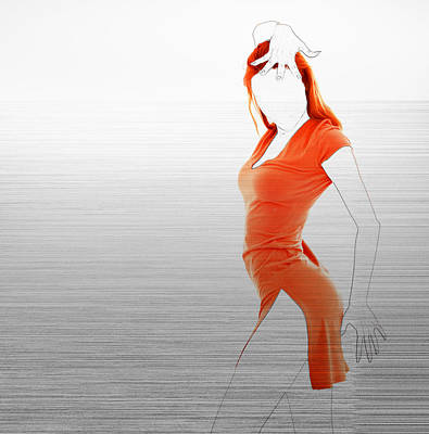 Red Abstract Photograph - Orange Dress by Naxart Studio