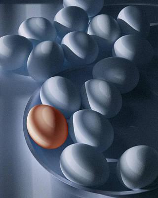 Orange Egg Among The Blues Art Print
