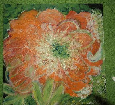 Orange Floral Fantasy Art Print by Anne-Elizabeth Whiteway