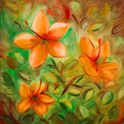 Painting - Orange Flowers by Gina De Gorna