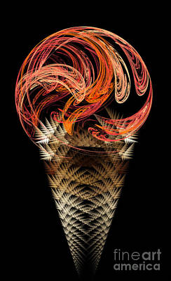 Digital Art - Orange Ice Cream Cone by Andee Design