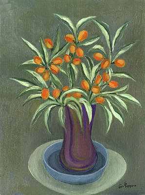 Painting - Orange Olives Vase In Purple Green And A Blue Plate Long Leaves  by Rachel Hershkovitz