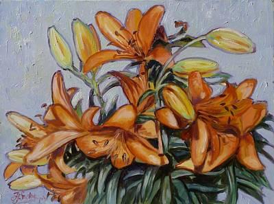 Flower Painting - Orange Oriental Lilies by Irek Szelag