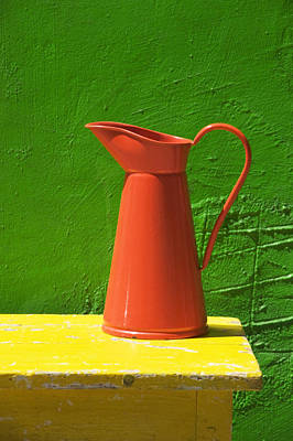 Vase Table Photograph - Orange Pitcher by Garry Gay