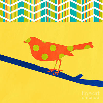 Chevron Mixed Media - Orange Polka Dot Bird by Linda Woods