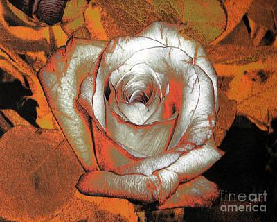 Photograph - Orange Rose - Digital Art by Merton Allen