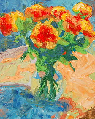 Orange Roses In A Glass Vase Art Print