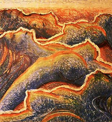 Drawing - Orange Seaside by Florin Birjoveanu