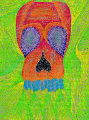 Gradient Drawing - Orange Skull by Jera Sky