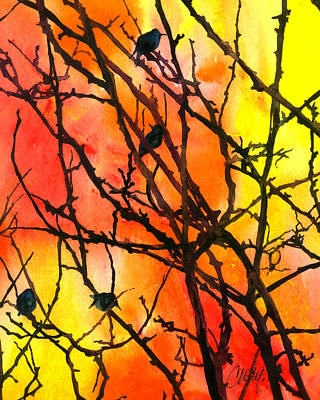 Painting - Orange Sky With Black Birds by Christy Freeman Stark