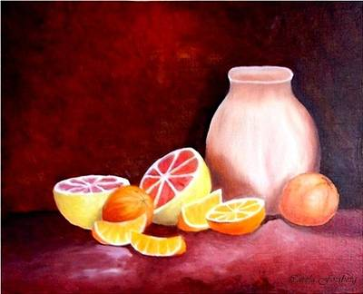 Painting - Orange Still Life by Carola Ann-Margret Forsberg