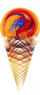 Digital Art - Orange Swirl Ice Cream Cone by Andee Design