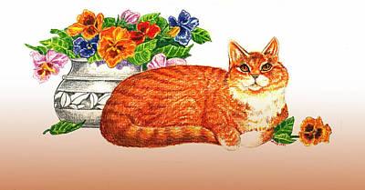 Orange Tabby Drawing - Orange Tabby Cat by Wendy McKennon