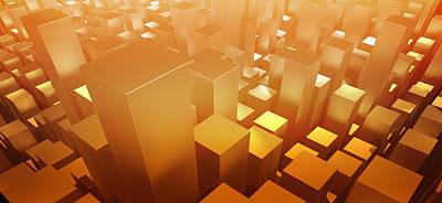 Focus On Foreground Digital Art - Orange Three Dimensional Rectangular Shapes by Ralf Hiemisch