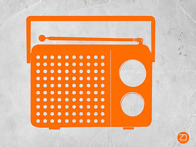 Print Drawing - Orange Transistor Radio by Naxart Studio