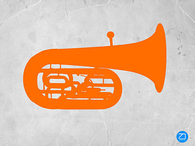 Trombone Photograph - Orange Tuba by Naxart Studio