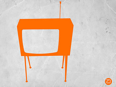 Retro Wall Art - Digital Art - Orange Tv by Naxart Studio