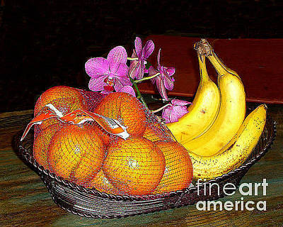 Photograph - Oranges Bananas Orchids by Merton Allen