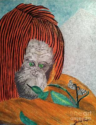 Art Print featuring the painting Orangutan by Jasna Gopic