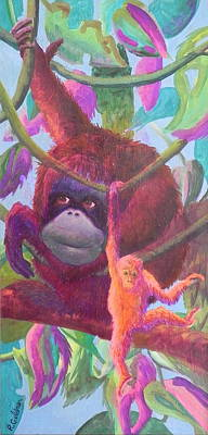 Orangutan Mama Original by Rita Goldner