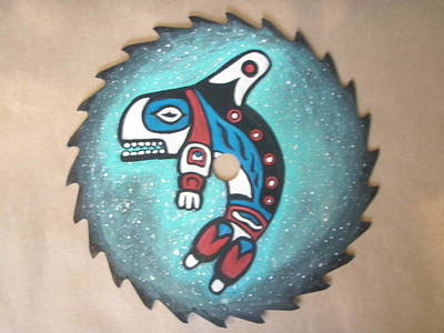 Orca Mixed Media - Orca Whale Painted On Sawblade by Linda Nielsen