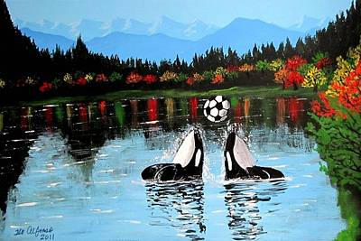 Painting - Orca Whales Playing With A Soccer Ball by Teo Alfonso