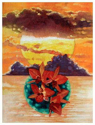 Painting - Orchid Sunset by John Lautermilch