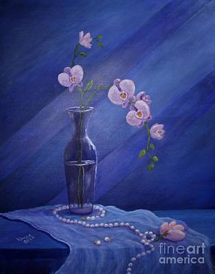 Jewerly Painting - Orchids And Pearls by Marlene Kinser Bell