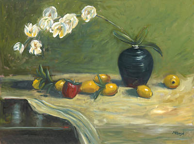 Art Print featuring the painting Orchids And Vase by Marlyn Boyd