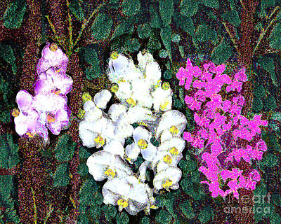 Photograph - Orchids In The Rainforest Digital Pointilized Painting by Merton Allen