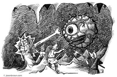 Dungeon Drawing - Orcs Vs Beholder by Jason Braun
