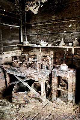 Ore Assay Shop Work Bench - Molson Ghost Town Art Print by Daniel Hagerman