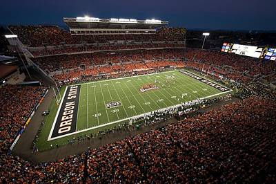 Fan Art Photograph - Oregon State Night Game At Reser Stadium by Oregon State University