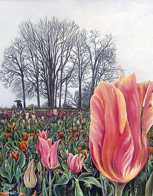 Tulip Festival Painting - Oregon Tulip Festival by Denise Sanders