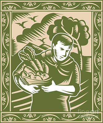 Organic Farmer With Basket Harvest Crops Retro Art Print by Aloysius Patrimonio