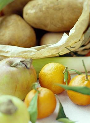 Organic Fruits And Vegetables Art Print by David Munns