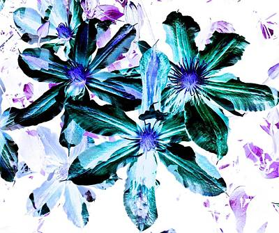 Organic Techno Flowers Art Print