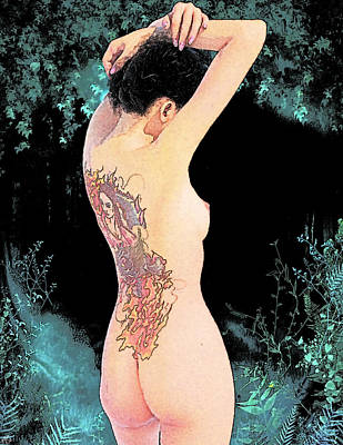 Geisha Digital Painting - Oriental Beauty by Maynard Ellis