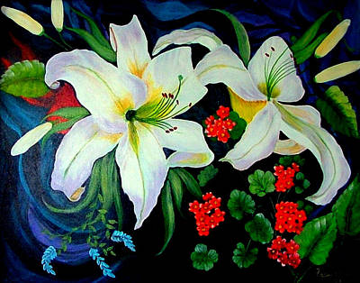 Painting - Oriental Lily by Fram Cama