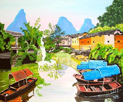 Farm Life Paintings Rob Moline - Oriental Scene by Phyllis Kaltenbach