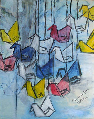 Painting - Origami For Peace by Michel Croteau